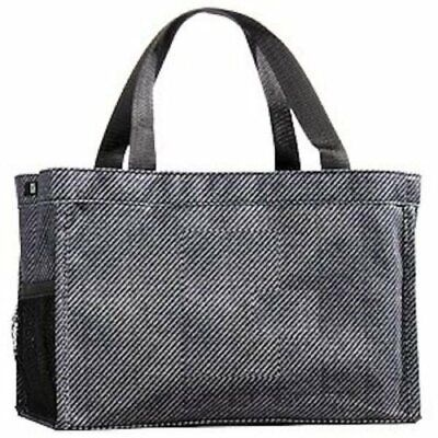 Thirty one all in one Organizer mini tote bag black textured twill purse