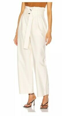 New With Tags GANNI Size 34 High Waist Belted Chino Egret Pants $225 F4413