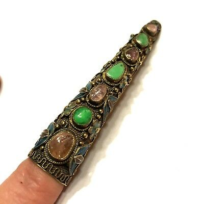 Antique Chinese Export Silver Gemstone Cloisonne Enamel Nail Guard Brooch Pin