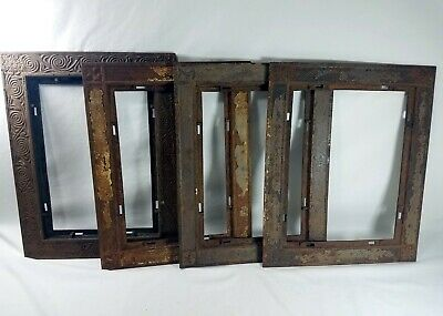 "Vtg Cast Iron Air Return Vent Floor Grate Register Frames 17.5"" x 13.5"" LOT of 4"