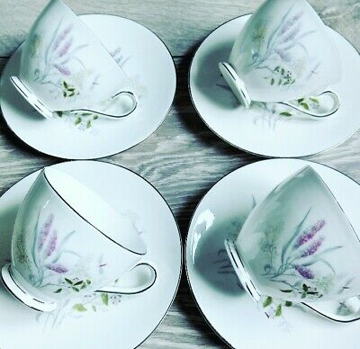 💐 4 Pretty Vintage Tuscan Bone China Tea Set Cups And Saucers 💐