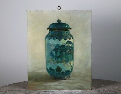 Vintage Oil on Board Painting of a Chinese Porcelain Vase