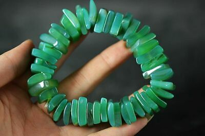 Tibetan Pure Natural Green Agate Dzi Beads Bracelet Hand String A1