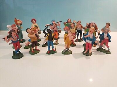 18 Vintage Italian Nativity Villager Figures Hand Painted Plastic, Made in Italy