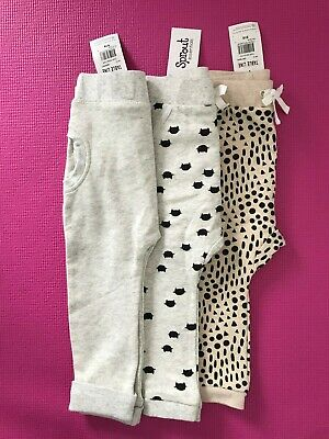 BNWT 3 x SPROUT baby girl track pants size 2