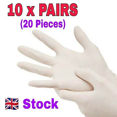 10 Pairs Gloves (20 Gloves) Disposable Powder Free Vinyl Natural Rubber UK Stock