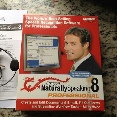 Dragon Naturally Speaking 8 software incl headphones and full instructions