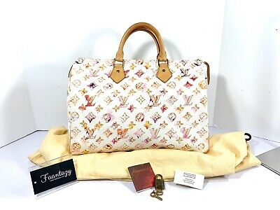 Auth LOUIS VUITTON monogram watercolor speedy 35 handbag