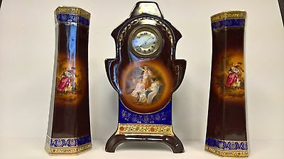 Mantle Clock Set Karlsbad Chocolate Antique 3 Piece by Carl Knoll Circa 1914-15