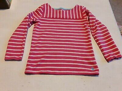 Joules Girls Long Sleeve Top 5-6 Cotton Pink Striped