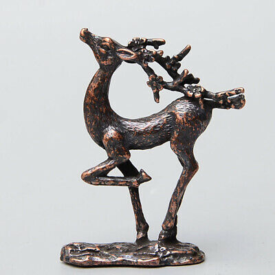 Collectable China Old Red Copper Hand-Carved Sika Deer Delicate Decorate Statue