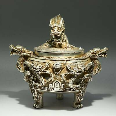 Collectable China Old Miao Silver Hand-Carved Myth Dragon Delicate Noble Censer