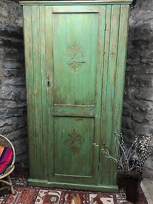 Vintage Painted Pine Green Armoire/ Linen Press With Inlaid Design