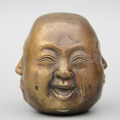 Collect China Old Bronze Hand-Carved All Sides Buddha Moral Bring Luck Statue
