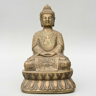 Collect China Old Bronze Hand-Carved Buddhism Moral Bring Luck Kwan-Yin Statue