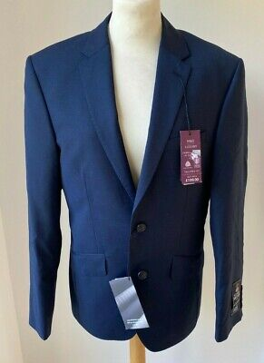 BNWT Marks & Spencer Alfred Brown Navy Blue Suit 38 Chest RRP £199