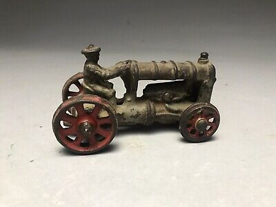 "1930's Antique/Vintage Cast Iron Toy Farm Tractor All Original 4"" Long, Hubley?"