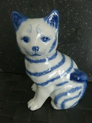CHINESE BLUE WHITE CERAMIC CAT - Bought Beijing