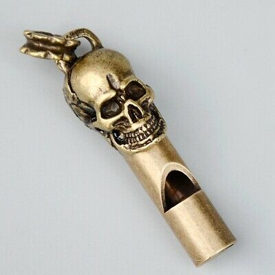 Collect China Old Bronze Hand-Carved Evil Skull Statue Delicate Whistle Pendant