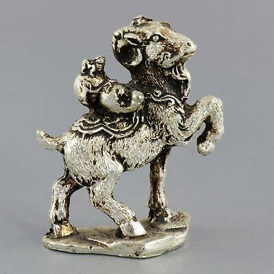 Collect Old Tibet Silver Carved Goat  Packsaddle Gourd Moral Auspicious Statue