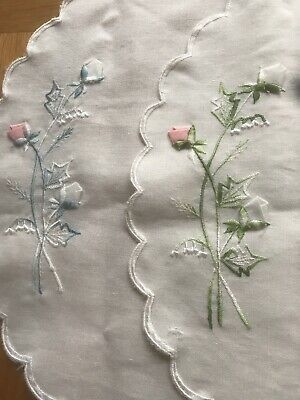 Vintage Oval Linen Doilies Embroidered Flowers Circa 1980s Oval Approx 17.5 X 12
