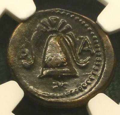 336-323 BC NGC Ch VF Alexander III Macedon AE Half-Unit, Shield Obv & Helmet Rev