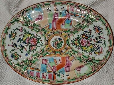 """Chinese CELADON 12"""" Oval Dish Serving Platter FAMILLE ROSE MEDALLION Beautiful!"""