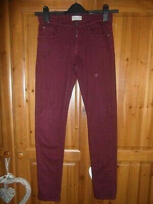 ZARA boys burgundy skinny leg denim jeans AGE 11-12 YEARS