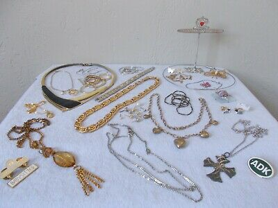 Job Lot Mixed Metal Unbranded Costume Jewelry 20 Items + 26 Single Earrings