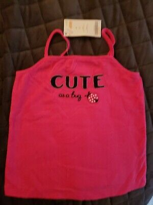 Pink Tank Top From Gymboree With Navy Letters And Ladybug Design Size 4T