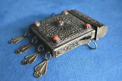 Antique / Old Vintage Chinese Tibetan Ghau Gau Orange Bead Silver Prayer Box