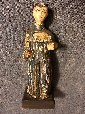Early Wood Carved Santos Folk Art Antique Religious figure