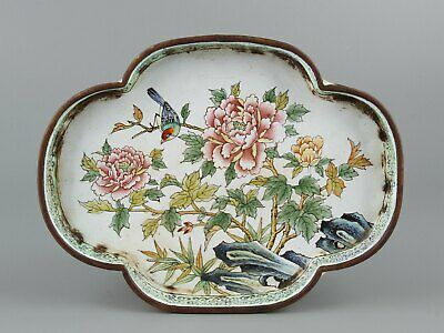 Chinese Exquisite Handmade Copper Enamel Flower and bird  Brush washer