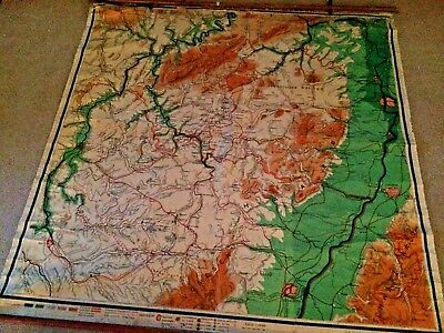 """Railroad and Route Map SW Germany Mosel Saar Pfalz Linen Backed 72x72"""" Chart"""