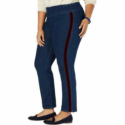Charter Club Women's Blue Size 16W Plus Stretch Striped Pull On Jeans $74 #464