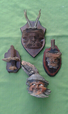 3 +1 pieces Black Forest Wood Carved Bearded Man