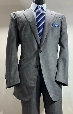 Martin Greenfield Brooks Brothers Gray Striped Suit 46 R Made In USA