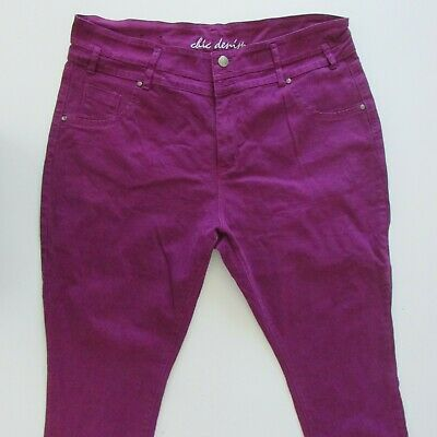 City Chic Jeans Womens Size 22 L32 High Rise Skinny Fit Purple Denim Zip Fly