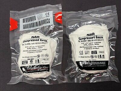 2-Pack North American Rescue NAR Compressed Gauze Medical Cotton Exp 2021-2023