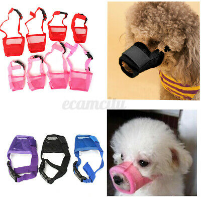 Nylon Pet Dog Muzzle Fabric Adjustable Bite Barking Chewing Stop Mesh Cover S-XL