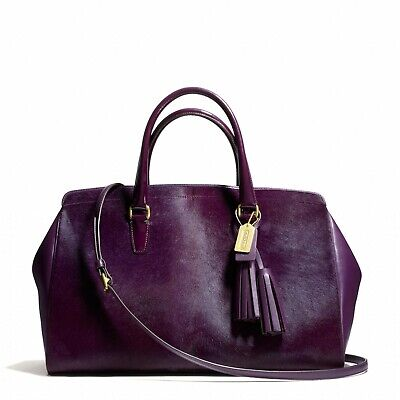 COACH Legacy Large Lowell Satchel in Haircalf and Leather Aubergine - EUC