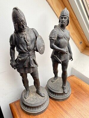 A Lovely Large Pair Of Antique Spelter Figurines - Very Decorative
