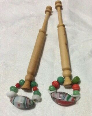 """Pr """" Yew"""" Timber Spangled Lace Bobbins - 11.5 Cm Without Spangle"""