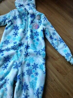 Girls Nightwear Age 9-10 Yrs M&S Frozen All In One With Hood Warm & Cosy Aqua