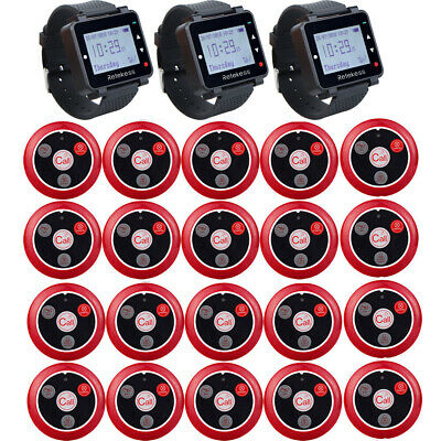 T128 Cafe Club Restaurant Waiter Calling System 3Watch Receiver+20Calling Pagers