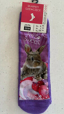 Girls Purple Socks With Cute Bunny - I'm So Sweet. New With Tags.