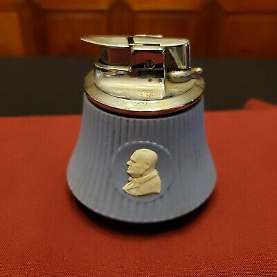 "VTG ""CHURCHILL"" Blue Wedgewood Jasperware Chrome Cigarette Lighter England RARE!"