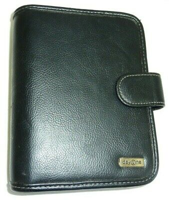 "Franklin Covey Day One 1 Planner Binder Organizer Compact Black Leather 1"" Rings"