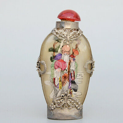 Collectable Old Miao Silver Armour Glass Inside Paint Immortal Luck Snuff Bottle