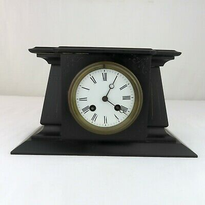 Antique French Japy Freres & Cie Egyptian Revival Black Slate Mantle Clock Parts